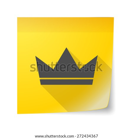 Illustration of an isolated sticky note icon with a crown - stock vector
