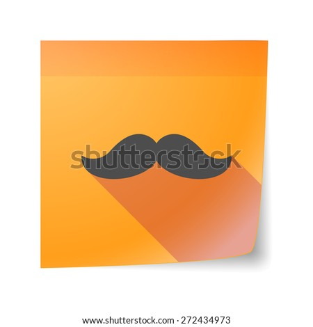 Illustration of an isolated sticky note icon with a moustache - stock vector