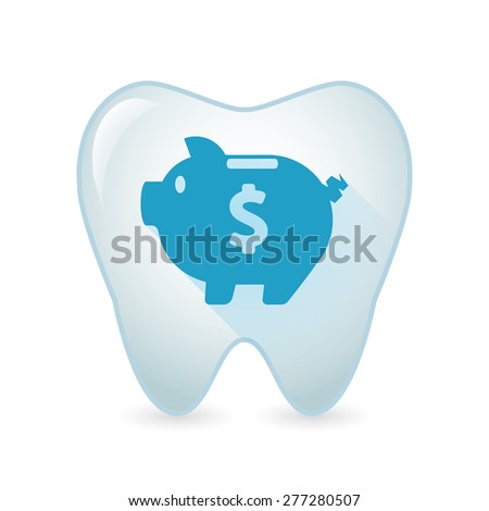 Illustration of an isolated tooth icon with a piggy bank - stock vector