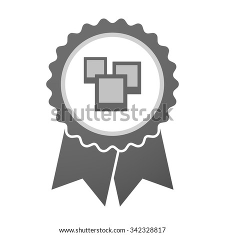 Illustration of an isolated vector badge icon with a few photos - stock vector