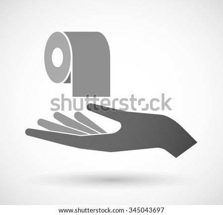 Illustration of an isolated vector hand giving a toilet paper roll - stock vector