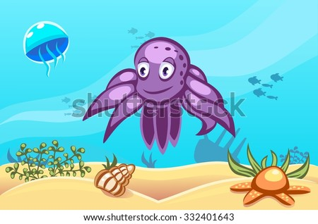 Illustration of an octopus on underwater vector world background with jellyfish, fishes, seaweed, ship, sand, seashell and a starfish - stock vector