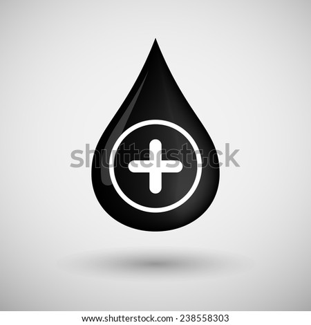 Illustration of an oil drop icon with a sum sign - stock vector