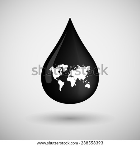 Illustration of an oil drop icon with a world map - stock vector