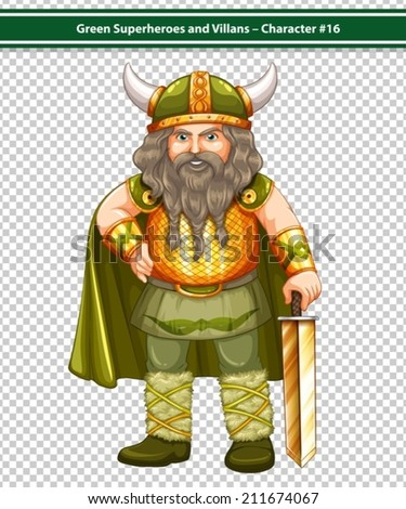 Illustration of an old male viking warrior - stock vector