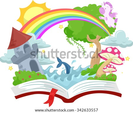 Illustration of an Open Book with a Medieval Castle on Top - stock vector