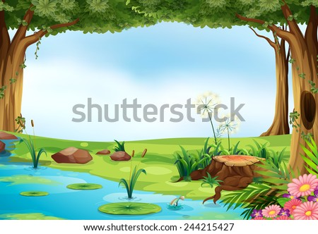 Illustration of an outdoor scene of a pond - stock vector