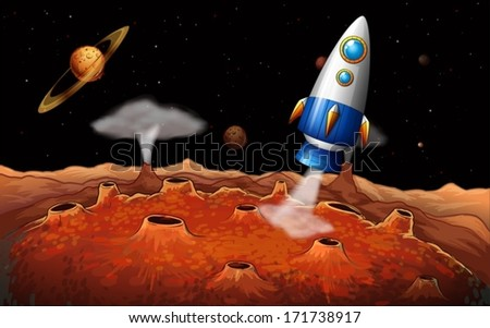 Illustration of an outerspace with a rocket - stock vector