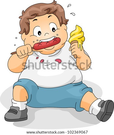 Illustration of an Overweight Boy Eating - stock vector
