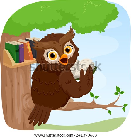 Illustration of an Owl Reading a Book While Perched on a Tree - stock vector