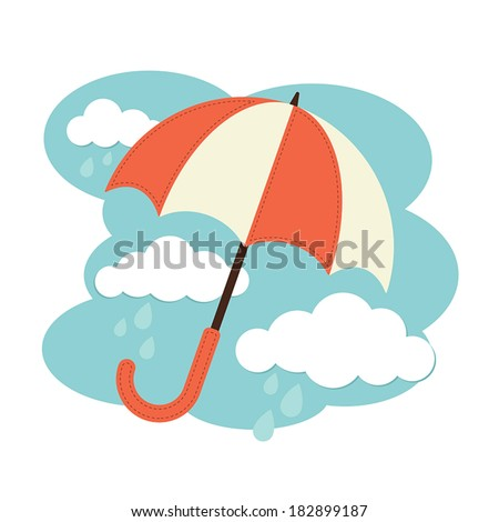Illustration of an umbrella and rain clouds - stock vector