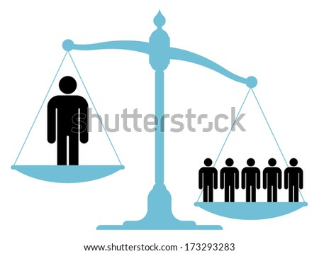 Illustration of an unbalanced vintage scale with a single man and a    Unbalanced Scale Of Justice Vector