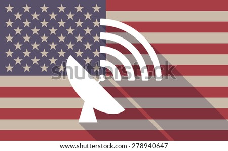 Illustration of an USA flag icon with a satellite dish - stock vector