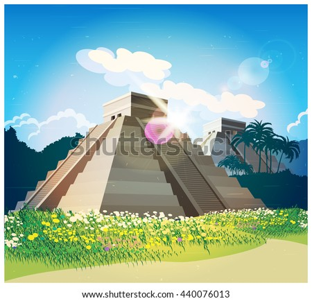 Illustration of ancient Mayan pyramids in the jungle - stock vector