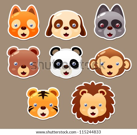 illustration of animal face set vector - stock vector