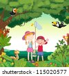 illustration of animals, birds and kids in a beautiful nature - stock vector