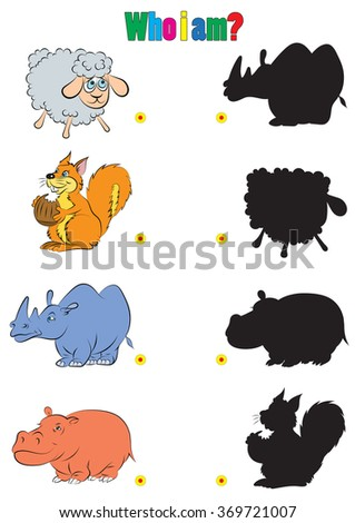 illustration of animation silhouette of animals for the children's book of riddles - stock vector