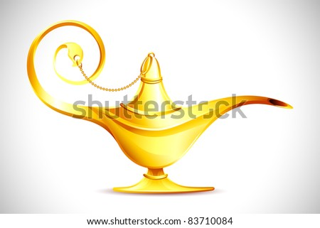 illustration of antique golden ginie lamp on abstract background - stock vector