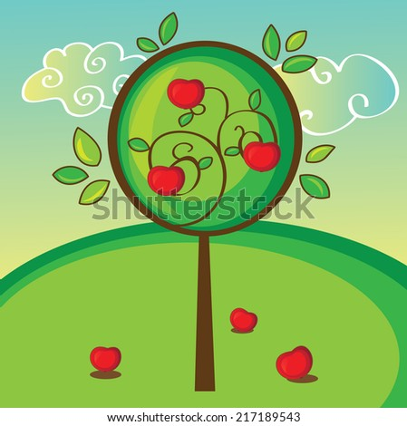 illustration of apple tree on green bright background - stock vector