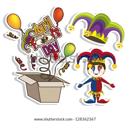 Illustration of  April Fools Day icons. vector illustration - stock vector