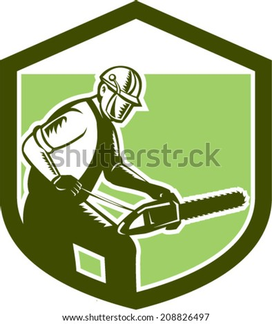 Illustration of arborist tree surgeon lumberjack holding a chainsaw set inside crest shield on isolated white background done in retro woodcut style.  - stock vector