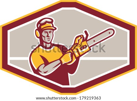 Illustration of arborist tree surgeon lumberjack holding a chainsaw set inside octagon shape on isolated background done in retro style. - stock vector