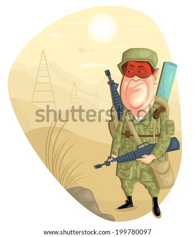 illustration of army man with gun in vector - stock vector
