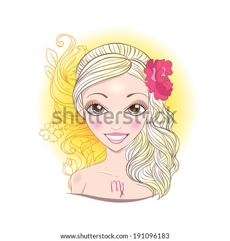 Illustration of astrological sign of Virgo. Beautiful fantasy girl. - stock vector