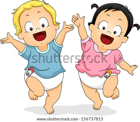 Illustration of Babies in Diapers Happily Dancing Around While Waving Their Hands in the Air - stock vector