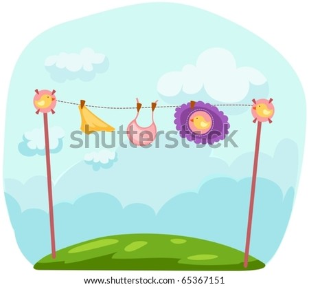 illustration of  baby clothes on a clothesline - stock vector