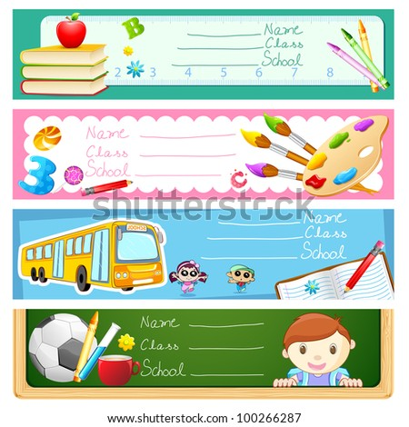 illustration of back to school banner set - stock vector