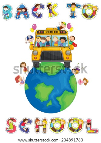Illustration of back to school poster - stock vector