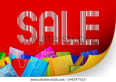 illustration of barcode sale with colorful shopping bag - stock vector