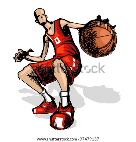illustration of basket ball player running with ball - stock vector
