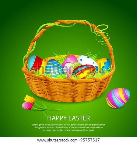 illustration of basket full of colorful decorated easter eggs - stock vector