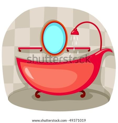 illustration of bathtub in bathroom - stock vector