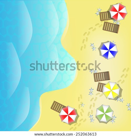 Illustration of beach from above with sea, parasols and beds - stock vector