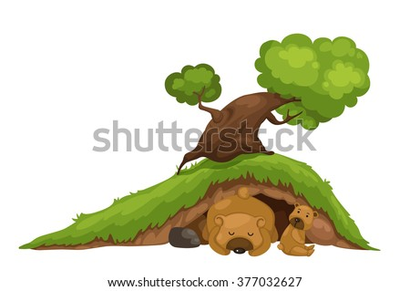 illustration of bear sleeping in cave vector - stock vector