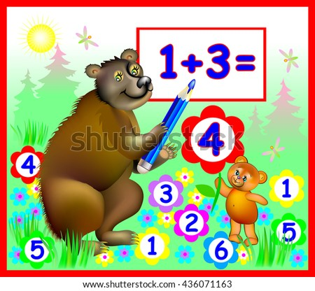 Illustration of bears learning count numbers, vector cartoon image for schoolbook. - stock vector