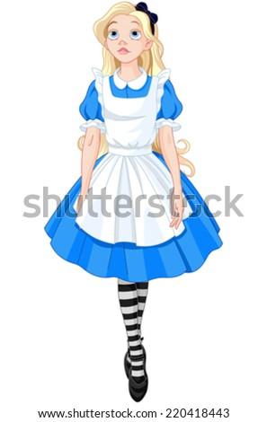 Illustration of Beautiful Alice from Wonderland - stock vector
