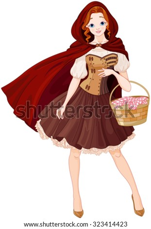 Illustration of beautiful girl dressed like Little Red Riding Hood - stock vector