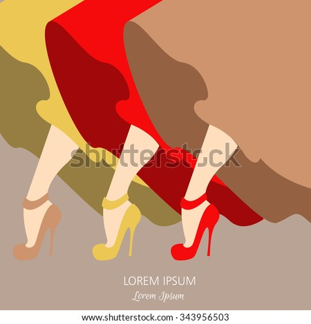 Illustration of beautiful legs isolated made in vintage style. Vector template for business card, banner, T-shirt print or music album's cover. - stock vector