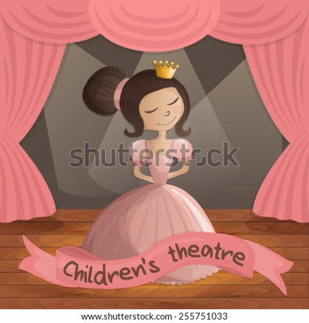 Illustration of beautiful princess in pink dress on a theater stage - stock vector