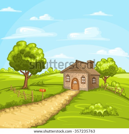 Illustration of beautiful summer landscape with a home - stock vector