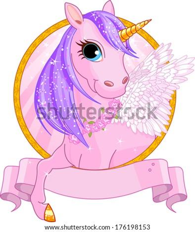 Illustration of beautiful unicorn sign - stock vector