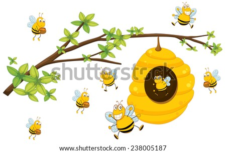 Illustration of bee flying around a beehive - stock vector