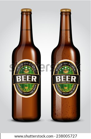 illustration of beer bottle with label  - stock vector