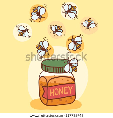 Illustration of bees and honey pot - stock vector