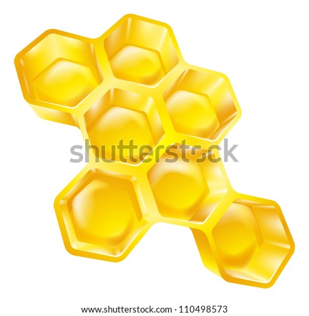Illustration of bees wax honeycomb full of delicious honey - stock vector