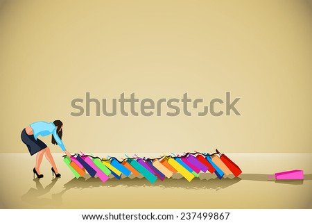 illustration of big sale. woman carry  a lot of things - stock vector